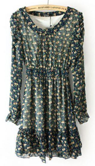 Blue Long Sleeve Shell Print Elastic Waist Ruffles Dress