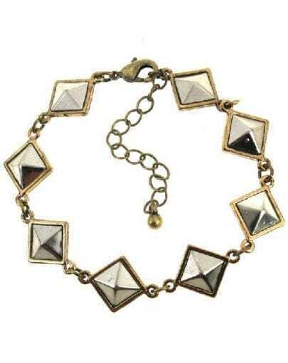 Silver Pyramid Shape Chain Link Bracelet