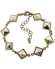 Silver Pyramid Shape Chain Link Bracelet