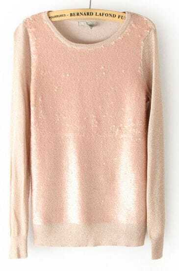 Pink Long Sleeve Sequined Pullover Sweater
