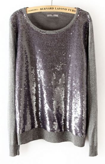 Grey Long Sleeve Sequined Pullover Sweater