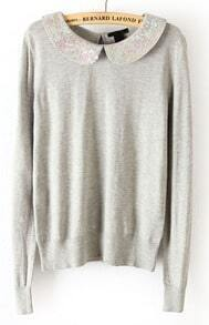 Grey Long Sleeve Sequined Back Hollow Sweater