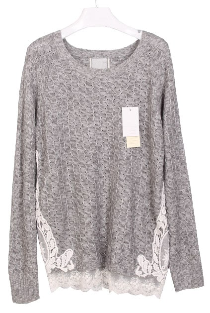 Grey Long Sleeve Lace Embellished Loose Sweater -SheIn(Sheinside)