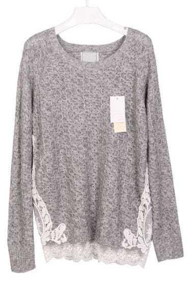 Grey Long Sleeve Lace Embellished Loose Sweater