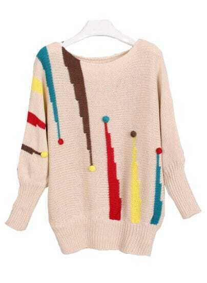 Apricot Boat Neck Exclamation Mark Pattern Sweater