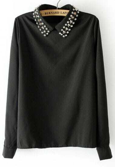 Black Long Sleeve Stars Rhinestone Collar Chiffon Blouse