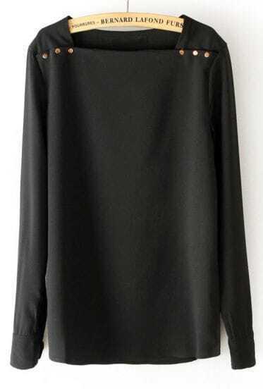 Black Square Neck Long Sleeve Shoulder Buttons Blouse