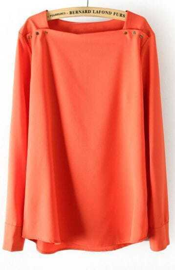 Orange Square Neck Long Sleeve Shoulder Buttons Blouse