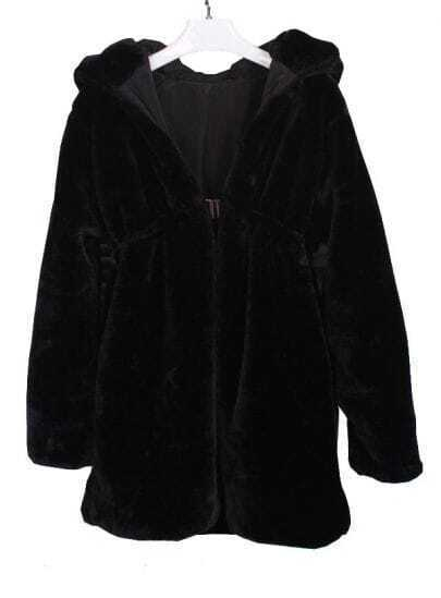 Black Hooded Faux Fur Long Sleeve Coat