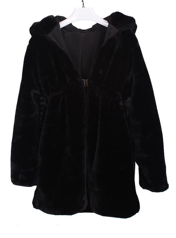 Black Hooded Faux Fur Long Sleeve Coat -SheIn(Sheinside)