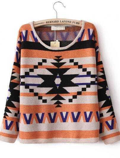 Orange Geometric Pattern Dropped Shoulder Sweater