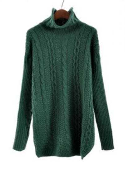 Green Turtlenedk Long Sleeve Cable Knit Sweater