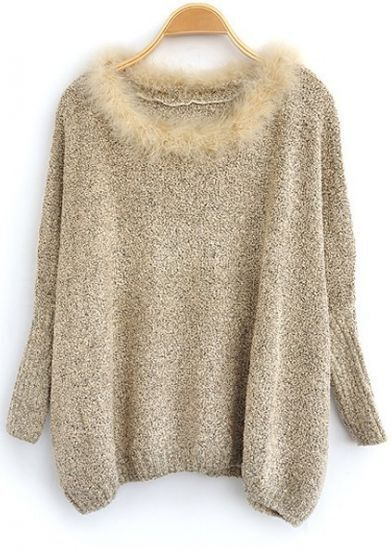 Light Brown Fur Round Neck Batwing Sweater