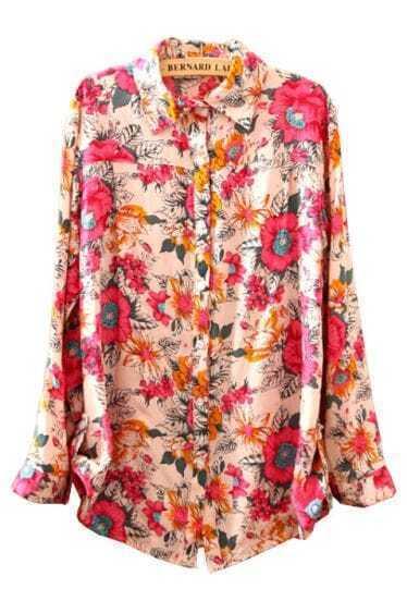Pink Lapel Long Sleeve Floral Buttons Blouse