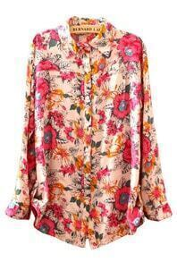 Pink Lapel Long Sleeve Floral Buttons Blouse