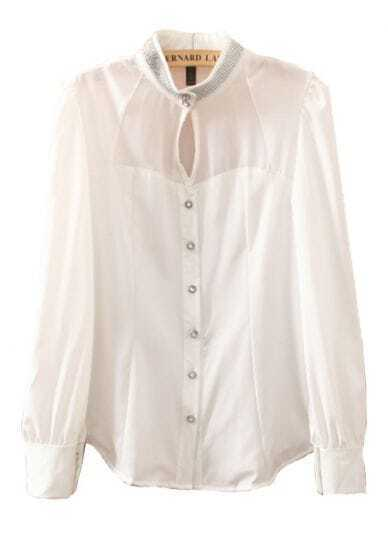 White Stand Collar Sheer Rhinestone Chiffon Blouse