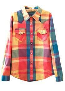 Pink Blue Plaid Long Sleeve Pockets Blouse