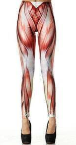 Red Muscle Print Elastic Leggings