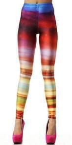 Multi Gradual Change Striped Elastic Leggings