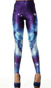 Purple Galaxy Elastic Leggings