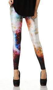 Multi Plume Rocks Print Elastic Leggings