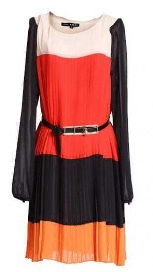 Red Puff Sleeve Belt Embellished Pleated Dress