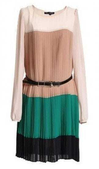 Khaki Puff Sleeve Belt Embellished Pleated Dress