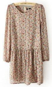 Beige Long Sleeve Back Zipper Floral Pleated Dress