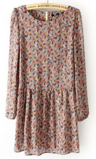 Pink Long Sleeve Back Zipper Floral Pleated Dress