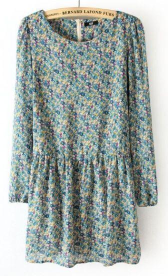 Blue Long Sleeve Back Zipper Floral Pleated Dress