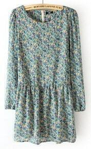 Blue Long Sleeve Back Zipper Floral Pleated Dress