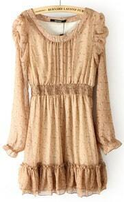 Khaki Long Sleeve Shell Print Elastic Waist Ruffles Dress