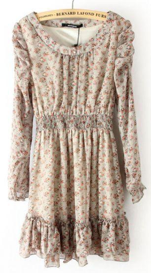 Grey Long Sleeve Floral Elastic Waist Ruffles Dress