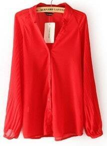Red V Neck Long Sleeve Pleated Chiffon Blouse