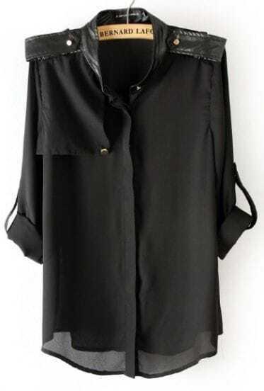 Black Contrast PU Leather Epaulet Chiffon Blouse
