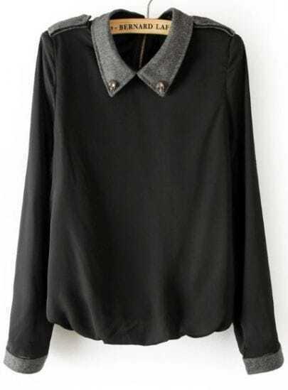 Black Long Sleeve Skull Embellished Epaulet Blouse