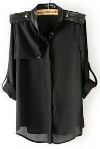 Black Contrast PU Leather Epaulet Chiffon Blouse