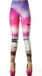 Pink Beach Sunset Print Elasitc Leggings