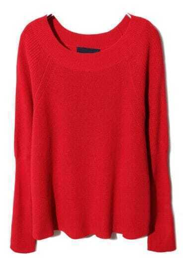 Red Round Neck Raglan Sleeve Pullover Sweater