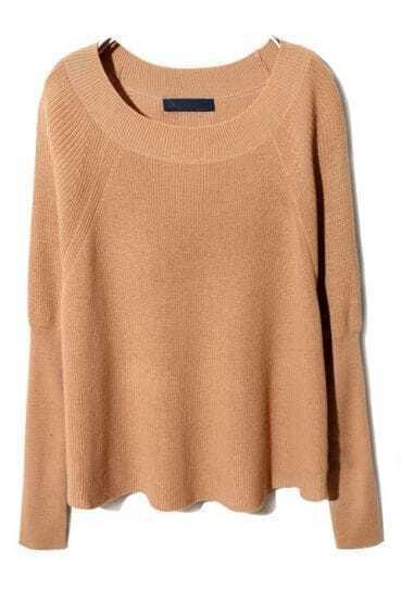Light Camel Round Neck Raglan Sleeve Pullover Sweater