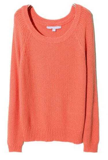 Orange Raglan Sleeve Chunky Pullover Sweater