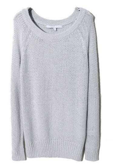 Light Grey Raglan Sleeve Chunky Pullover Sweater