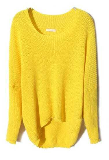 Yellow Batwing Long Sleeve High-Low Sweater