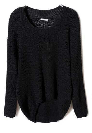 Black Batwing Long Sleeve High-Low Sweater