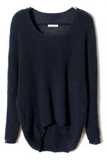 Navy Batwing Long Sleeve High-Low Sweater