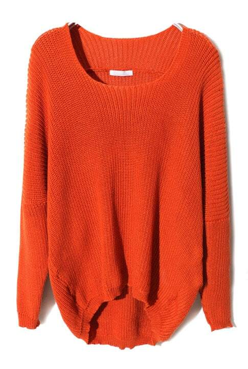 Orange Batwing Long Sleeve High-Low Sweater -SheIn(Sheinside)