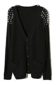 Black Raglan Sleeve Rivet Pockets Cardigan Sweater
