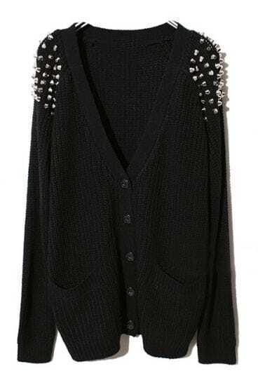 Black Raglan Sleeve Rivet Pockets Cardigan Sweater