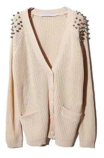 Beige Raglan Sleeve Rivet Pockets Cardigan Sweater