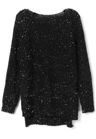 Black Raglan Sleeve Sequined Chunky Sweater